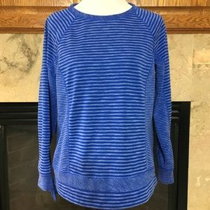 Talbots Blue Striped Knit Top. Medium Petite. MP